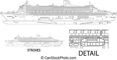 Queen Marry - High detailed vector illustration of a cruise ...