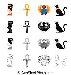 Queen Nefertiti, akhnh, Egyptian cat, beetle of scarab. Ancient Egypt set collection icons in cartoon black monochrome outline style vector symbol stock illustration web.