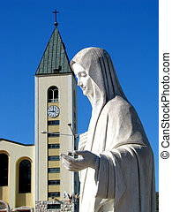 Queen of Angels - The statue of Oue Lady Queen of Peace, in...