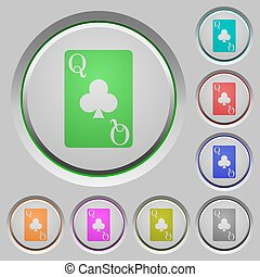 Queen of clubs card push buttons