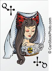Queen of clubs. Deck romantic graphics cards