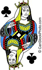 Queen of Clubs Isolated French Version - Queen of clubs ...