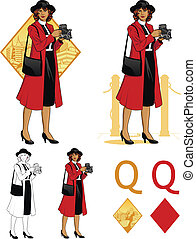 Queen of diamonds afroamerican woman photographer Mafia card set