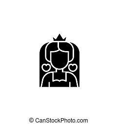 Queen of hearts black icon concept. Queen of hearts flat  vector symbol, sign, illustration.
