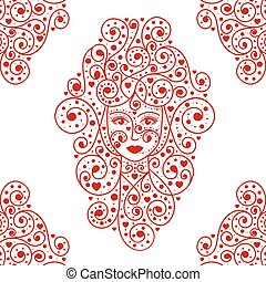 Queen of hearts vector, detailed illustration
