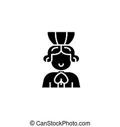 Queen of spades black icon concept. Queen of spades flat  vector symbol, sign, illustration.