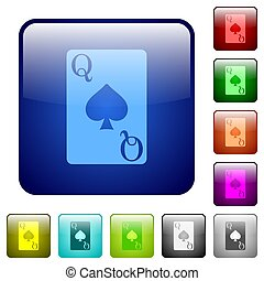 Queen of spades card round glossy buttons color square buttons