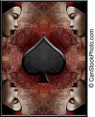 Queen of Spades Card