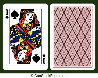 Queen Of Spades Playing Card And The Backside Background Original Design