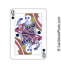 Queen of spades playing card with isolated on white