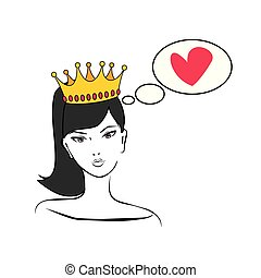 Queen or princess thinking about love vector illustration isolated on white background