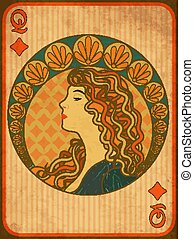 Queen poker diamonds card in art nouveau style, vector illustration