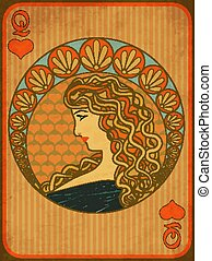 Queen poker hearts card in art nouveau style, vector illustration