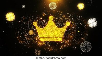 Queen Royalty Crown Icon on Firework Display Explosion Particles. Object, Shape, Text, Design, Element, Symbol 4K Animation.