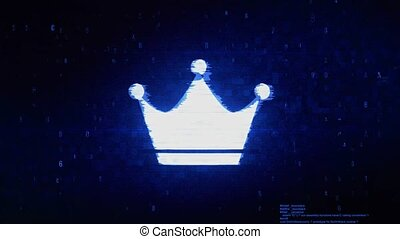 Queen Royalty Crown Symbol Digital Pixel Noise Error...