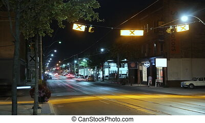 Queen Street East at night. Tlapse. - Queen Street East at...