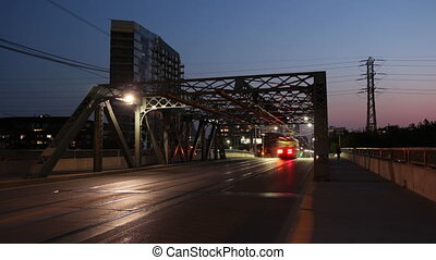 Queen Street Toronto. Timelapse. - Queen street bridge at...
