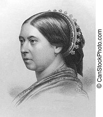 Queen Victoria (1819-1901) on engraving from the 1800s. ...