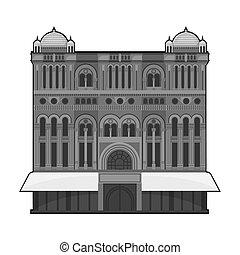 Queen Victoria Building icon in monochrome style isolated on white background. Australia symbol stock bitmap,raster illustration.