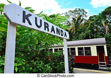 queenland, estación, tren, australia, kuranda