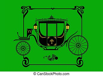Queen's carriage. Stylized drawing of a Victorian brougham carriage.
