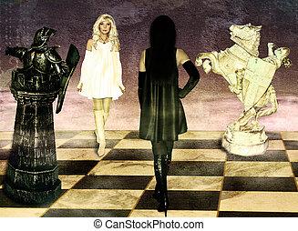 queens., confrontación, ajedrez