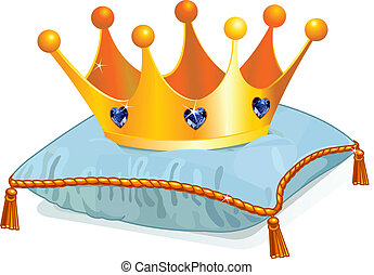 Queen's crown on the pillow - Gold Queen's crown on the blue...