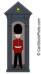 Illustration of a royal guard standing in a guards box