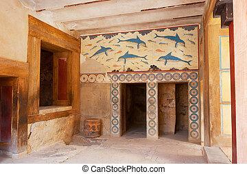 Queen's Megaron with Dolphin fresco. Minoan palace of Knossos, Crete, Greece