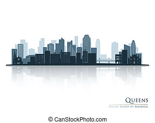 Queens, New York blue skyline silhouette with reflection.