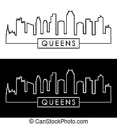 Queens NY skyline. Linear style. Editable vector file.