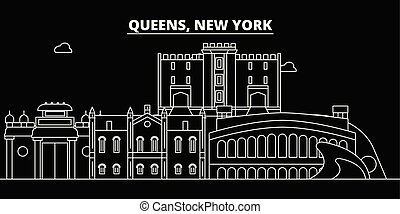 Queens silhouette skyline. USA - Queens vector city, american linear architecture, buildings. Queens travel illustration, outline landmarks. USA flat icons, american line banner