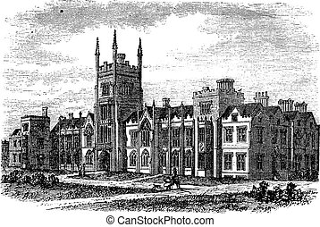 Queen's University in Belfast, Ireland, during the 1890s, vintage engraving. Old engraved illustration of Queens University in Belfast.