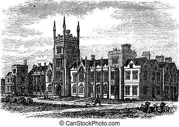 Queen's University in Belfast,Ireland, vintage engraving from the 1890s