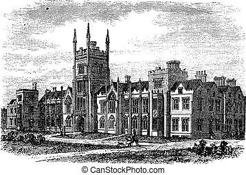Queen's University in Belfast,Ireland, vintage engraving...