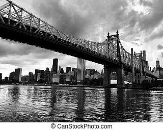 Queensboro bridge over the river, in black and white style