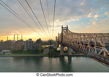 Queensboro Bridge viewed from a cable car in New York City.
