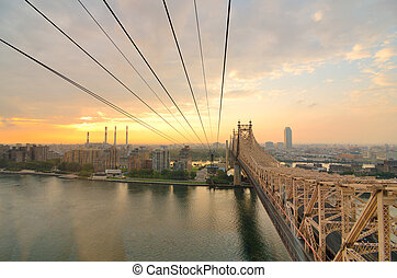 Queensboro Bridge Viewed from a cablecar in New York City.