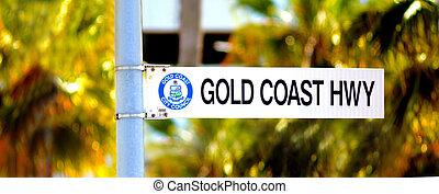 queensland, australia, oro, carretera, costa
