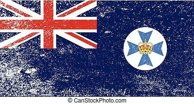 queensland, estado, grunge, bandeira