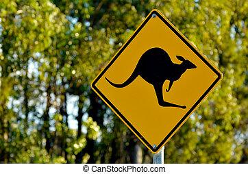 Kangaroo warning sign