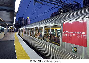 Queensland Rail - BRISBANE, AUS - SEP 23 2014:Passengers in...