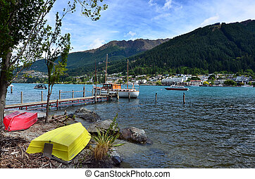 QUEENSTOWN, NZ - JAN 16:Queenstown cityscape on Jan 16 2014.It's one of the most popular travel destination in New Zealand known for it's restaurants, ski tourism and extreme sport adventure.