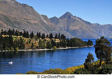 queenstown, wakatipu, zealand, nuevo, lago