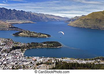 queenstown, zeeland, op, meer, tandem, wakatipu, nieuw, paragliding