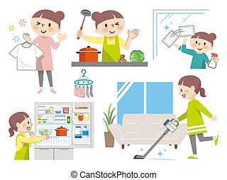 quehaceres domésticos, vario, conjunto, amas de casa, ilustraciones
