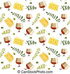 queijo, apartamento, vinho vidro, padrão, vetorial, seamless, vermelho