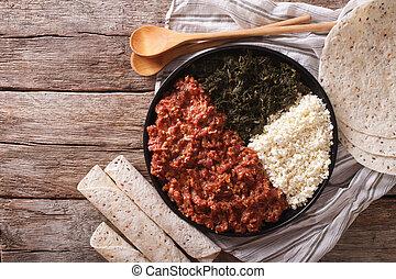 queijo, ayibe, ethiopian, topo, kitfo, ervas, close-up.,...