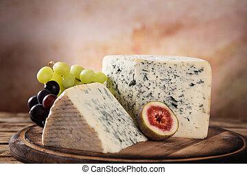 queijo azul, ligado, tabela madeira