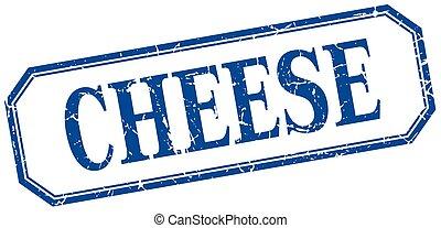 queijo azul, quadrado, grunge, vindima, isolado, etiqueta